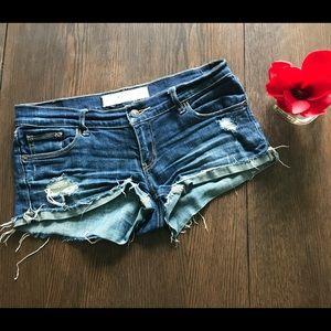 Abercrombie Destroyed Denim Shorts Size 4 27W